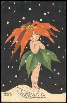 Vintage Christmas - Helfrid Selldin, little poinsettia flower girl