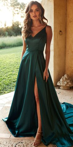 Simple Sexy High Side Slit Long Prom Dress Fahion Long School Dance Dresses Custom Made Long Evening Gowns V Neck Prom Dresses, Cute Prom Dresses, Cheap Dresses, Elegant Dresses, Pretty Dresses, Beautiful Dresses, Dance Dresses, Dresses Dresses, Grad Dresses