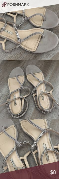 Zara diamond diamanté sandals 38 8 grey shoes Has been worn | some diamonds came of and there are wear marks, check the pics. Size 38 Zara Shoes Sandals