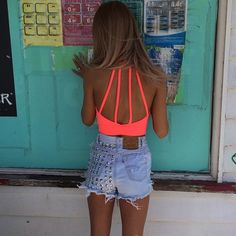 Neon Coral String Open Back Midriff. Denim Shorts. Summer Fashion. Summer Outfit