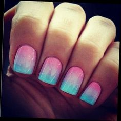 Pink and blue gorgeous nails that make your tan look even more glowing with the bright colors! Fun summer nails or a pink and blue, or finding out the sex of a baby! Fancy Nails, Trendy Nails, Gender Reveal Nails, Hair And Nails, My Nails, Cotton Candy Nails, Fabulous Nails, Gorgeous Nails, Creative Nails
