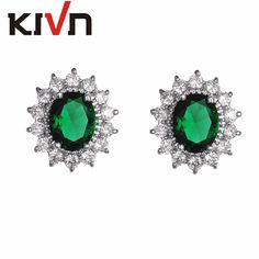 KIVN Jewelry Blue CZ Cubic Zirconia Womens Girls Princess Diana Wedding Bridal Stud Earrings Birthday Gifts 10pcs Lot Wholesale #Affiliate