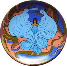 #artnouveau ornamental plate. Piatto dipinto a mano. Loie Fuller stile liberty di MITOliberty. #dance #danza