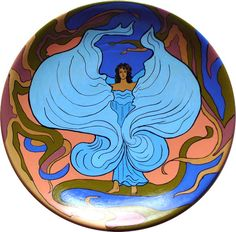 hand painted plate, Loie Fuller,  art nouveau - pinned by pin4etsy.com