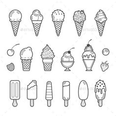 Buy Vector Icon Set Of Yummy Ice Cream by primulakat on GraphicRiver. Vector icon set of yummy ice cream. Collection of different flavours and kinds Ice Cream Sketch, Ice Cream Cone Drawing, Draw Ice Cream, Ice Cream Art, Ice Cream Tattoo, Ice Cream Logo, Icon Set, Bullet Journal Ideas Pages, Bullet Journal Inspiration