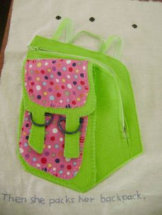 Candykins Crafts: backpack. Love the zip and buckles for fine motor and the pack school items such as lunch, reading book, hat
