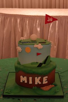 side of golf cake Golf Cookies, Golf Cupcakes, Adult Birthday Cakes, 50th Birthday Party, Fondant Cakes, Cupcake Cakes, Tennis Cake, Teacher Cakes, Retirement Cakes