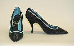 ~Shoes Dal Co'  (Italian) Date: 1955 Culture: Italian Medium: silk, glass, leather~