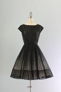 50s Dress / Vintage 1950s Sheer Black Dress