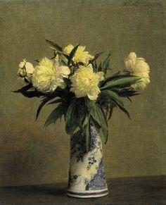 Henri Fantin-Latour 1836- Pivoines dans un vase bleu et blanc 1872 pintor francés que permaneció al margen del impresionismo, practicando un realismo lírico. Prefirió los retratos colectivos y femeninos, temas de música y, sobre todo bodegones de flores.