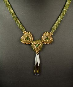 Elegant Olive: A Beadwoven Necklace. $200.00, via Etsy.