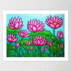 Lotus Bliss Garden A stylized and vibrant composition of the beautiful, exotic lotus flowers