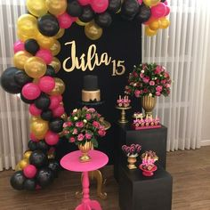 Party Pink Decorations Diy Bridal Shower Ideas For 2019 Teen Birthday, 15th Birthday, Birthday Crafts, Birthday Ideas, Birthday Table, Balloon Decorations Party, Birthday Party Decorations, Birthday Parties, Pink Decorations