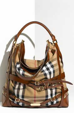 Burberry Belted Check Print Hobo