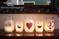 Mason Jars for V-day--this would be a fun craft to do with kids in the classroom