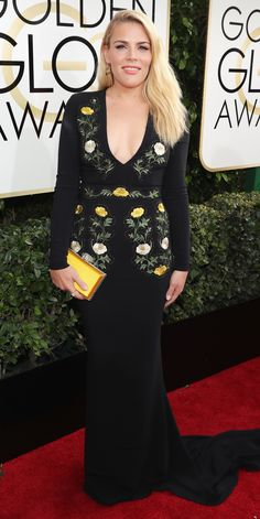 All the Glamorous Looks from the 2017 Golden Globes Red Carpet - 2017 Golden Globes Busy Phillips - Slide  from InStyle.com