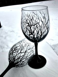 Wine Glasses, Hand Painted Wine Glass Trees, Pair of Wine Glasses 18 oz