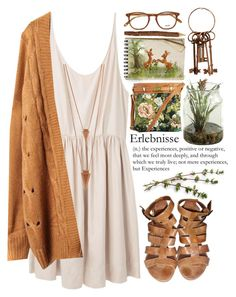 A fashion look from April 2015 featuring pink ruched dress, beige knit cardigan and flat gladiator shoes. Browse and shop related looks. Aesthetic Fashion, Aesthetic Clothes, Mode Hippie, Casual Outfits, Cute Outfits, Boho Fashion, Fashion Outfits, Estilo Hippie, Look Boho