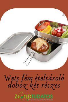 Rozsdamentes acélból készült kétrészes ételtároló, szivárgásmentes szilikon tömítéssel. BPA- ólom- és ftalátmentes! Élelmiszerbiztos rozsdamentes acélból. A doboz fedelén található szilikoncsík gondoskodik a szivárgásmentes tömítésről, így akár levest, vagy más folyadékot is szállíthatsz a doboz felső részében! Tartós termék, mellyel jelentősen csökkentheted a hulladéktermelésed. Jó választás zero waste életmódot élőknek a kimérős bevásárláshoz!Aszilikoncsíkot levéve fagyaszthatsz is benne!