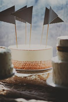 ruffles + flags wedding cake // photo by Red, White & Green Photography