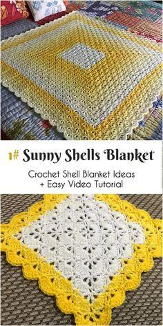 Easy Crochet Afghans Sunny Shells Blanket ~~~~~~~~~~~~~~~~~~~~~~~~~~~~~~~ For Crochet Shell Blanket, Crochet Baby Blanket Beginner, Crochet Squares, Crochet Shell Stitch, Crochet Shell Pattern, Crochet Afghans, Crochet Blankets, Baby Blankets, Pixel Crochet Blanket