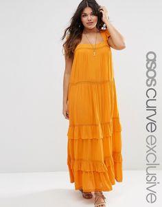 ASOS CURVE Boho Maxi Dress with Ruffles & Lace Insert