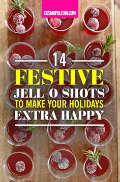 FESTIVE JELLO SHOTS: Say goodbye to your boring and typical holiday drinks and helloooo to some delish fun with these holiday-inspired Jell-o shots! Click through for easy-to-make recipes including Champagne Jell-o shots with raspberry, Cranberry Jell-o shots, Pumpkin Pie Jell-o shots, and so much more! Thanksgiving just got a million times more fun!