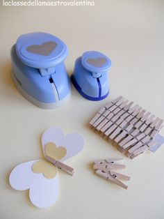 make a butterfly out of a heart paper punch! Paper Punch Art, Homemade Art, Craft Punches, Paper Crafts, Diy Crafts, Butterfly Crafts, Scrapbook Embellishments, Handmade Birthday Cards, Kirigami