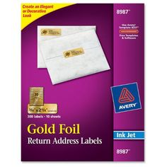 Avery Permanent Inkjet Foil Mailing Labels 8987 34 x 2 14 Gold Foil Pack Of 300 Mailing Address Labels, Return Address Labels, Inkjet Printer, Jar Labels, Bottle Labels, Graduation Invitations, Gold Foil, Products