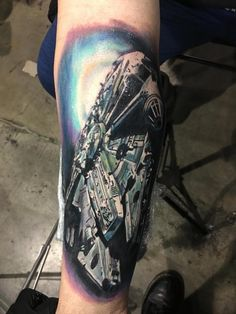 millennium falcon tattoo By Henrique Limited Availability at New testament tattoo studio Body Tattoos, Sleeve Tattoos, Space Tattoos, Falcon Tattoo, Star Wars Drawings, Millenium Falcon, Star Wars Tattoo, Body Is A Temple, Star Wars Art