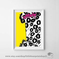 BamBam in Pink, Yellow Background. Size A2 Digital Download 8.68€. Printable artwork is a beautiful, quick and cost effective way of updating your art. Available on Etsy. ❤️❤️ Bear Print, Yellow Background, Bambam, Printable, Etsy Shop, Wall Art, Pink Yellow, Digital, Frame