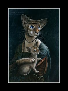 Spoof Cat Print The Lady With A Kitty original by I Garmashova | eBay