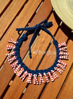 Nautical Navy Blue Tribal Fringe Bib Braided Necklace  -  Statement Braided Knotted Recycled Fabric Jewelry, upcycled fiber necklace