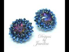 Shiny Avior Beaded Bezel Stud/Post Earrings Jewellery with Swarovski Rivoli and Bicones - YouTube