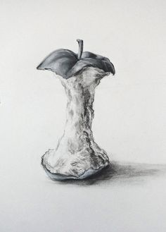 Apple Core by on deviantART Pencil Art Drawings, Art Drawings Sketches, Beginning And End Art Gcse, Apple Sketch, Fruit Sketch, Drawing Apple, Gcse Art Sketchbook, Sketching, Natural Form Art