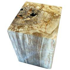 """POLISHED RECTANGULAR PETRIFIED WOOD STOOL Dimensions 14"""" (W) x 13"""" (D) x 18"""" (H) Polished Rectangular Petrified Wood Stool"""