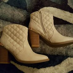Brand new booties Never worn. Perfect condition Size 10. Tan booties with gold studs. sophia and lee Shoes Ankle Boots & Booties