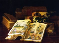Still Life with Japanese Children's Book (or Japanese Tale), c.1890-99 by Claude Raguet Hirst (American, 1855–1942)