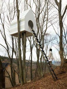 baumhaus kinder bauen design vogelhaus leiter