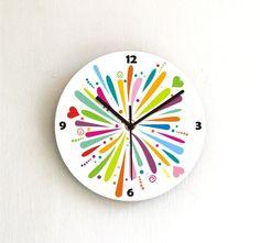 Color burst rainbow coloful clock,modern clock decorative printed designed patterned wooden numbers wall clock,nursery boy girl kids room