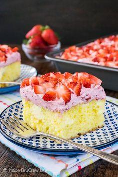 Lemon Strawberry Poke Cake -- Part of Super Moist Poke Cake Recipes