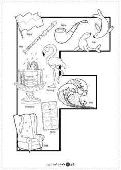 Kolorowanka F - Printoteka.pl Polish Alphabet, Hand Lettering, Origami, Diagram, Teaching, Logos, Google, Prints, Speech Language Therapy