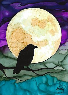 The Raven - Original Art - Mixed Media - Pen & Alcohol Inks - by Monica Moody Alcohol Ink Crafts, Alcohol Ink Painting, Alcohol Ink Art, Raven Art, Moon Art, Bird Art, Art Techniques, Mixed Media Art, Art Lessons