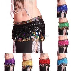 8 Colors Chiffon Belly Dance Hip Scarf Skirt Coins Sequin Tassel Wrap Belt A85 #Unbranded