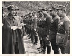 1944- Generalissimo Chiang Kai-Shek inspecting Chinese troops at new infantry training center in Kwangsi Province.