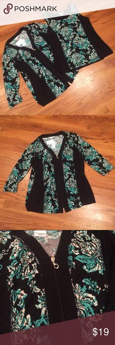 NEW $45 Retail 2 Piece Slimming C&B Jacket Set Extremely nice jacket and matching shirt. Stretch athletic type material. Black side panels give an illustration of a slimmer body. Christopher & Banks Tops