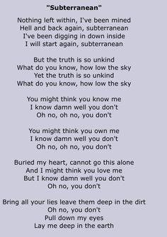 "Foo Fighters ""subterranean"""