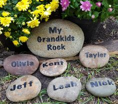 Grandkids Garden Rock Grandkids Rocks rock names for grandparentsName by GodRocksJewelry Painted Rock Cactus, Painted Rocks, Mothers Day Crafts, Crafts For Kids, Bob Marley, Grandkids, Grandchildren, Landscaping With Rocks, Landscaping Ideas