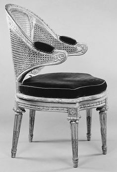 Desk chair (fauteuil de cabinet), French 1770, Gilded walnut, caning