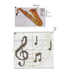 Miriã Arteira: Gráficos de Ponto Cruz Saxofone
